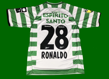 Sporting Cristiano ROnaldo short sleeve jersey. Poor counterfeit low quality reproduction