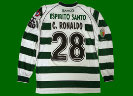 Long sleeves home hooped jersey, match worn by Cristiano Ronaldo in Sporting Lisbon