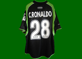 2001/2002, laughable Cristiano Ronaldo Sporting Lisbon jersey. All the details are wrong