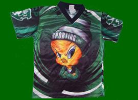 Camisola de criança, da looney toons, com o Piu-Piu. Sporting 1999 Warner Bros