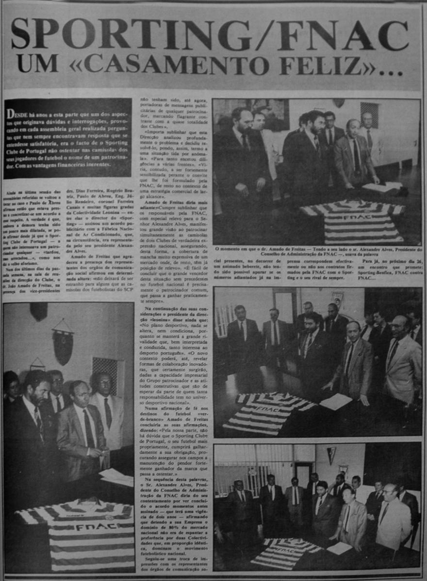 Amado de Freitas assina o primeiro patrocínio do futebol do Sporting - FNAC 1987