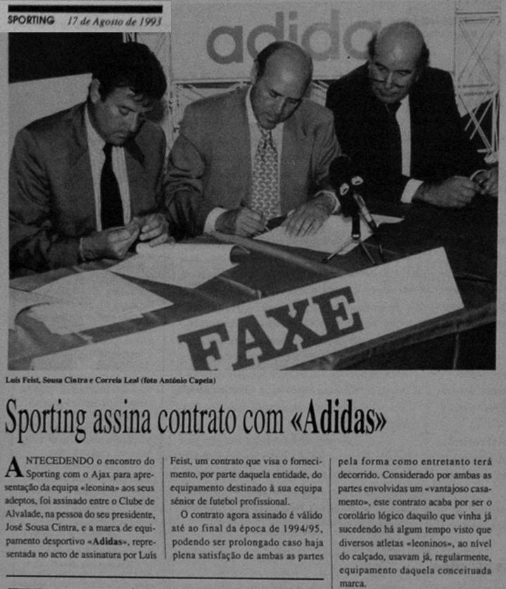 Sousa Cintra - Sporting assinou contrato com a Adidas em Agosto de 1993