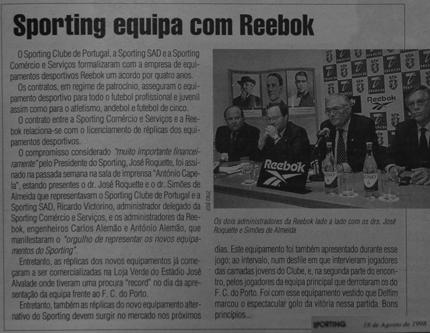 Sporting equipa Reebok em 1998. Assinatura do contrato