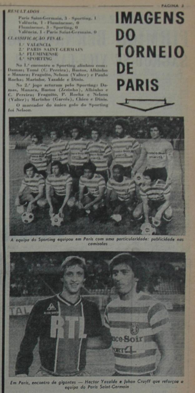 A primeira publicidade em camisolas de futebol do Sporting: Torneio de Paris, Junho de 1975