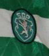 Equipamento de jogo listado do Sporting, marca Umbro, patrocinador Bonança