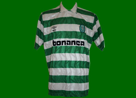 camisola listada de jogo do Sporting, marca inglesa Umbro, publicidade Bonança