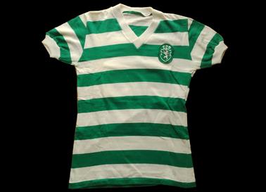 1979/80. Camisola clássica listada do Sporting feita em algodão
