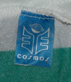 1981. Equipamento listado de mangas compridas, marca Cosmos do Sporting