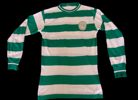From 1965/66 to 1971/72 or 1972/73. Very old hooped Sporting Lisbon jersey