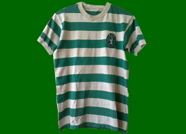 Sporting Lisbon home hooped match worn jersey, unknown player 1970s