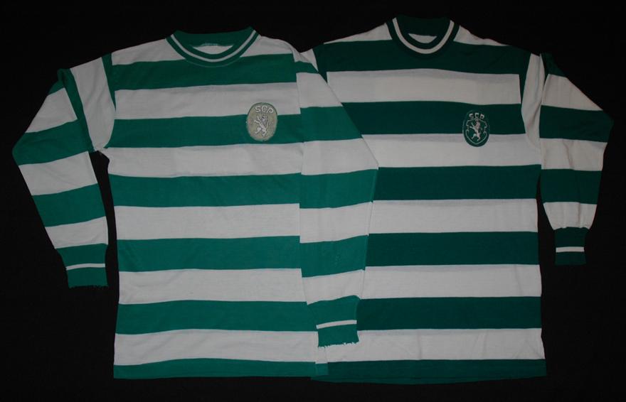 Camisolas do Sporting de mangas compridas usadas de 1965/66 a 1971/72 e em 1972/73 - frente