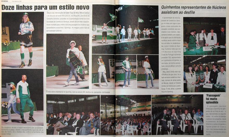 Doze linhas para um estilo novo: passagem de modelos do Sporting em 1997