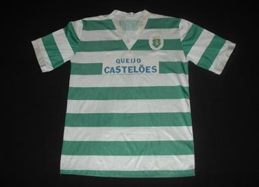 1994/95, camisola listada com publicidade Castelões