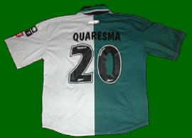 Stromp split green white Sporting Lisbon Ricardo Quaresma jersey. Quaresma was a U21 player, also played in the B team
