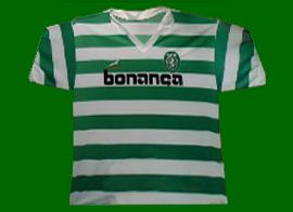 camisola do Sporting com patrocinador Bonança, de marca Springbok