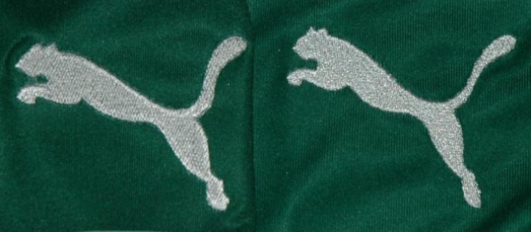 O Puma bordado: camisola contrafeita e camisola oficial do Sporting