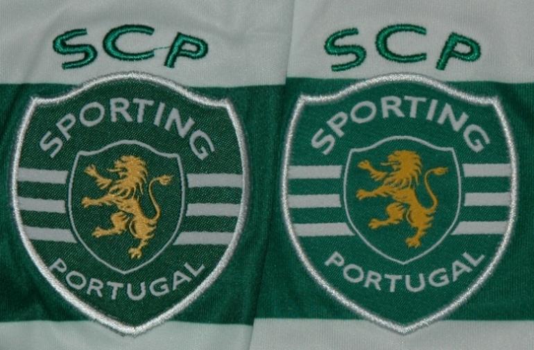 diferença evidente: o emblema do Sporting