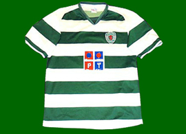 Sporting Lisbon. Brasilian production. Absolutely shameful counterfeit jersey, with the Rampant Lion in red