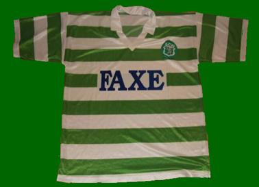 Sporting Lisbon fake football top, sponsor FAXE Danish beer 1993 1994