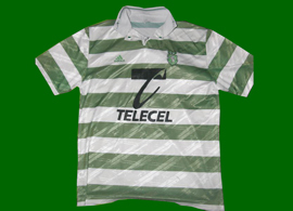 Adidas Sporting Lisbon jersey, already with the new pyramid three stripes logo. Made in Portugal