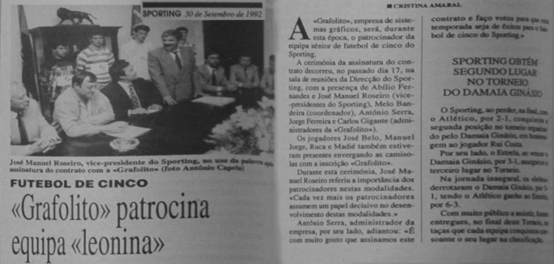 Sporting/Grafolito: futebol de cinco em 1992