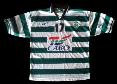 1997/98, camisola de Andebol de jogo, listada do Sporting