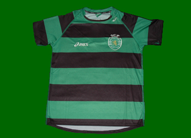 Sporting 12/13. Asics handball away green black jersey, child size