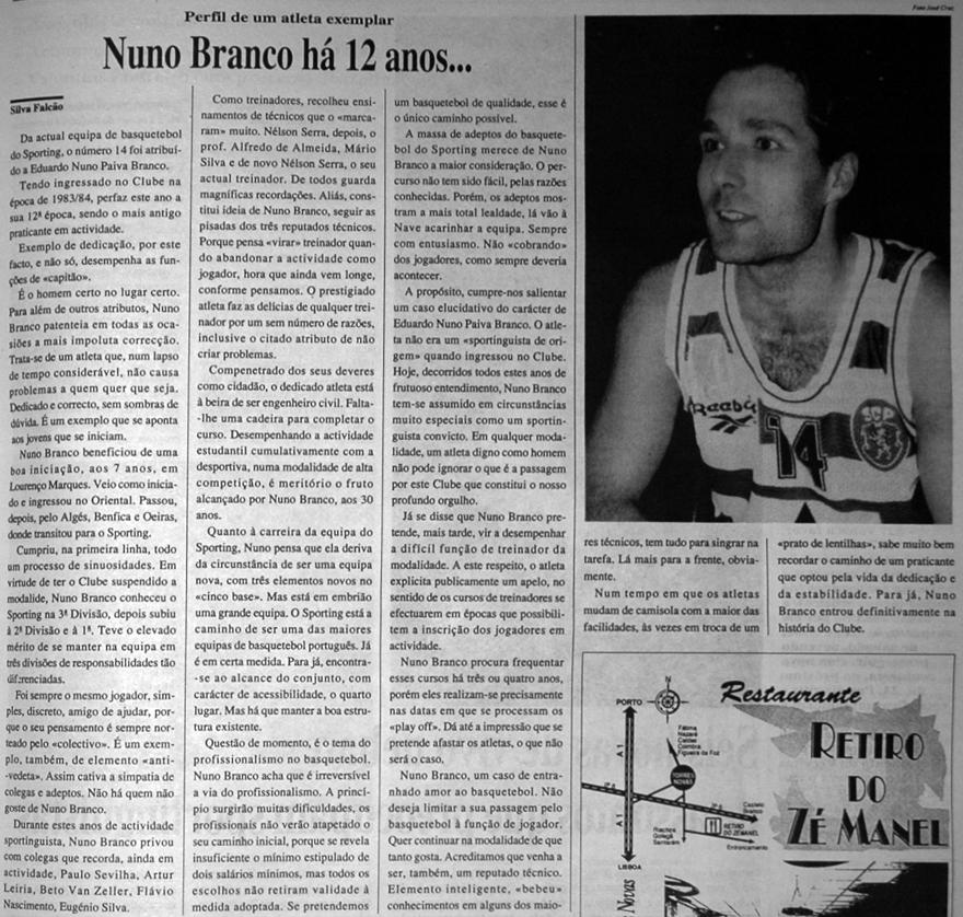 Entrevista de Nuno Branco ao Jornal Sporting