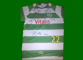 Match worn away shirt of João Pinto, signed by the 2012/13 squad. Made by Asics