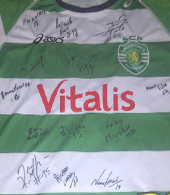 Match worn away jersey of João Pinto, signed by the 2012/13 squad. Made by Asics