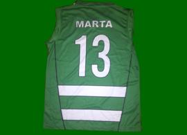 equipamento de jogo do basquetebol feminino do Sporting, assinado pela equipa de 2012/13
