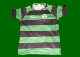 Sporting Lisbon Asics handball away shirt, in beautiful green/black hoops 2012/13