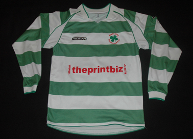 Bletchley Shamrock FC green white hoops and the Celtic shamrock