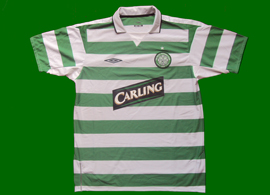 Celtic 2004 2005 home shirt greeen white hoops