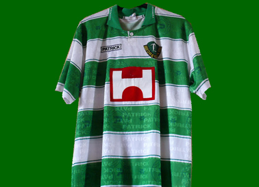 Dynamo Dresden Match worn away 1996/97 jersey, in green white hoops and with Holzmann sponsor