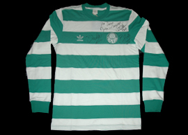 Palmeiras goalkeeper jersey, signed by Marcos