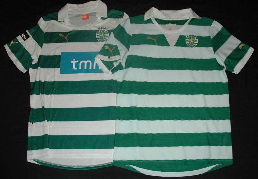 Comparação entre o protótipo rejeitado e a verdadeira camisola listada de 2011/12