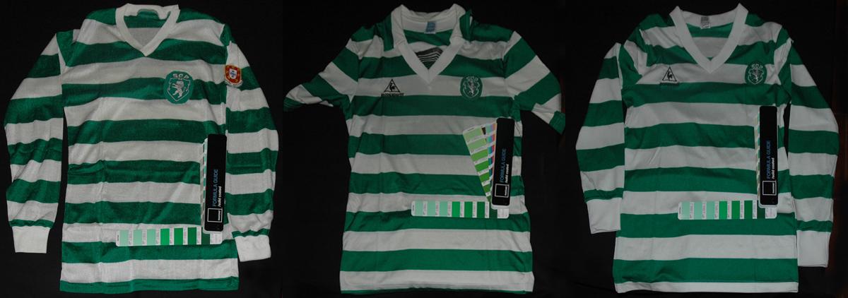 três camisolas vintage com verde Sporting