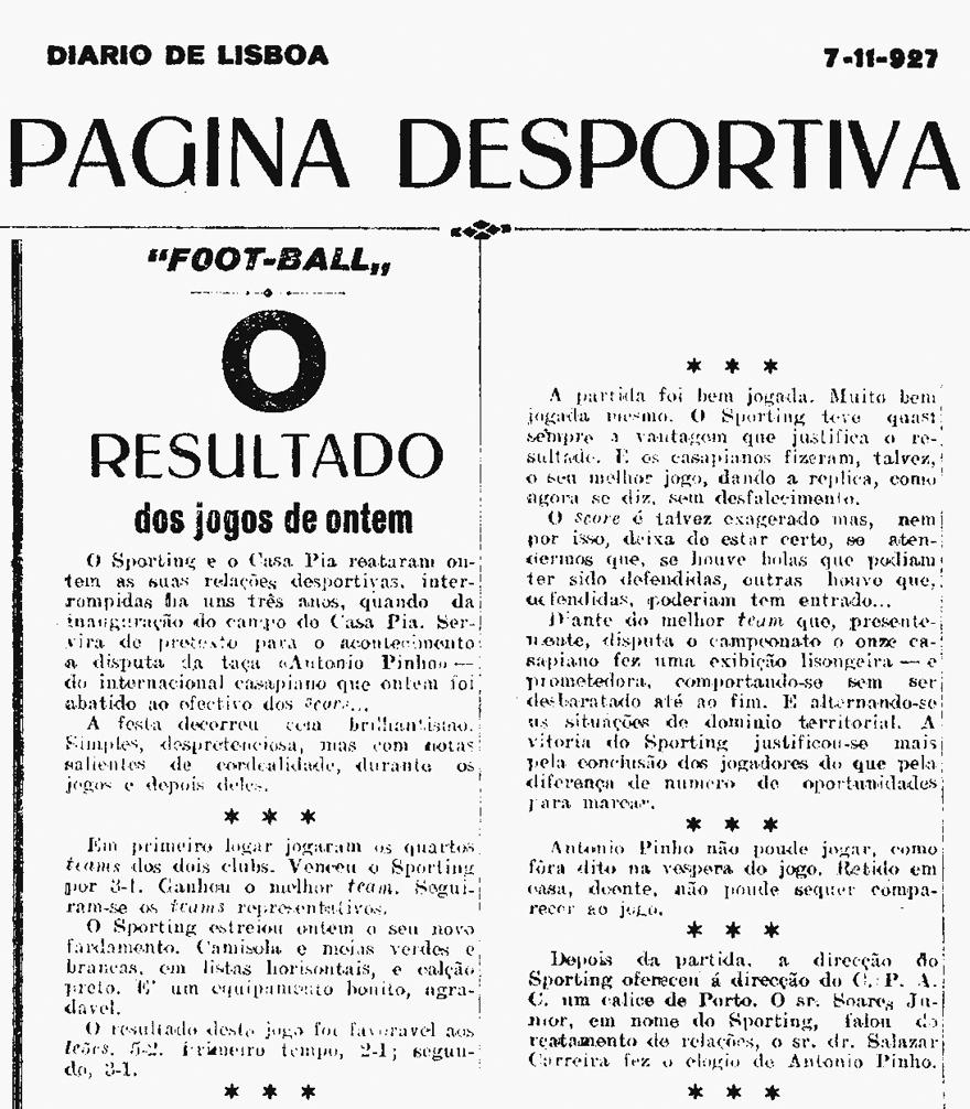 Estreia das camisola listadas - notícia no Diário de Lisboa